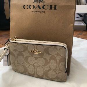 Coach double corner zip wristlet
